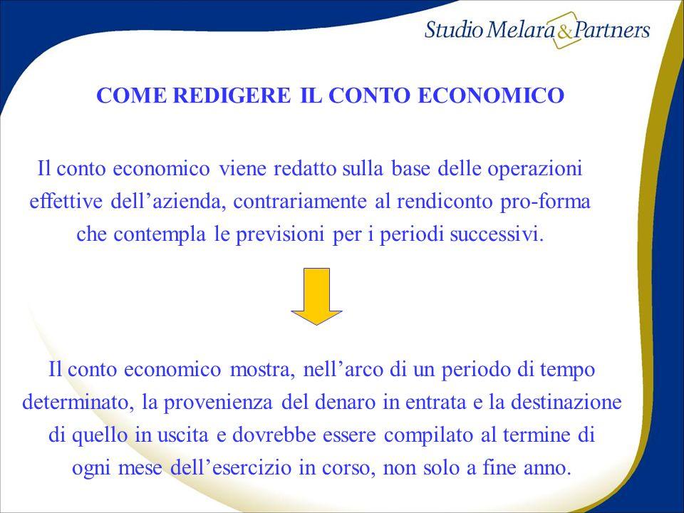 COME REDIGERE IL CONTO ECONOMICO Il conto economico viene redatto sulla base delle operazioni effettive dellazienda, contrariamente al rendiconto pro-