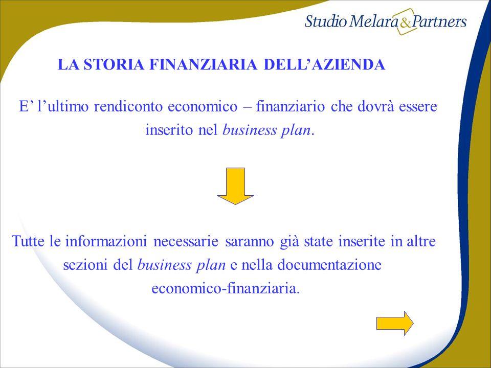 LA STORIA FINANZIARIA DELLAZIENDA Tutte le informazioni necessarie saranno già state inserite in altre sezioni del business plan e nella documentazion