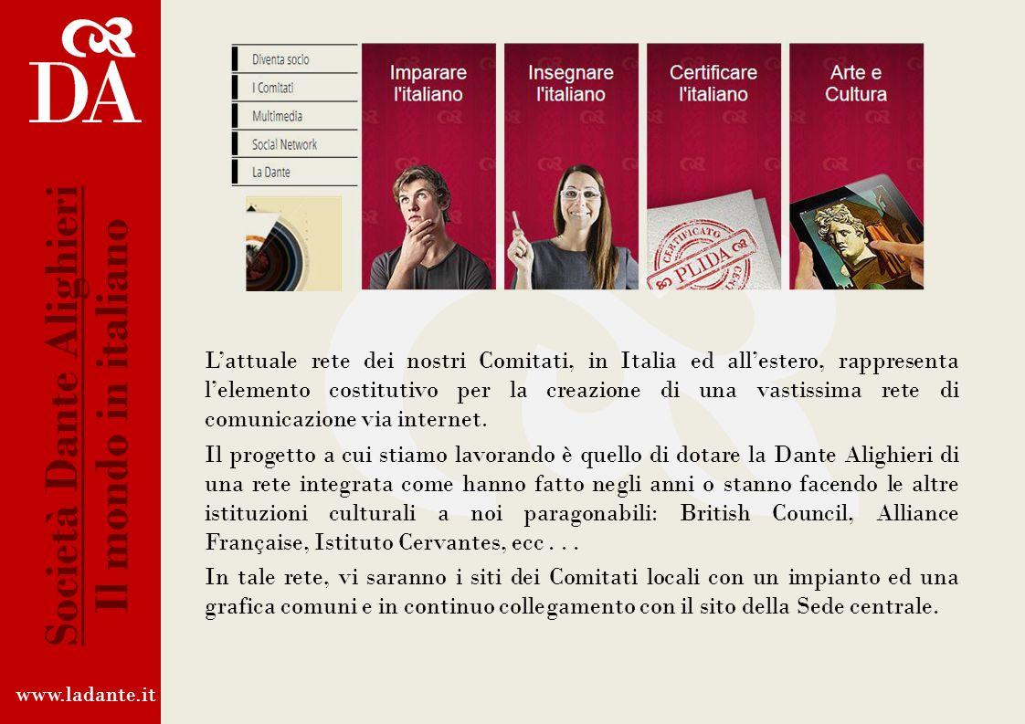 La Rete Integrata Internet della Dante Da anni la Società Dante Alighieri segue da vicino levoluzione del mondo della rete internet. Ha da tempo sosti
