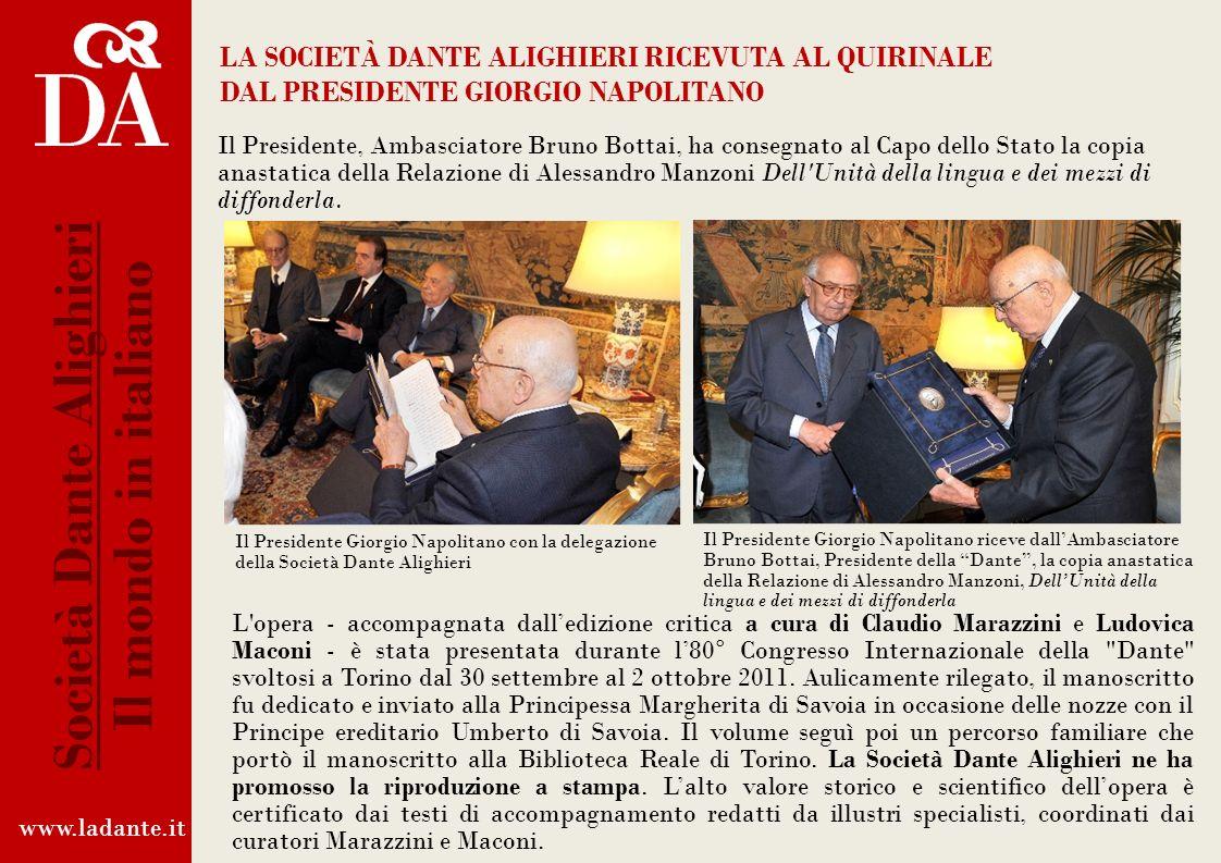 www.ladante.it Società Dante Alighieri Il mondo in italiano Pagine – Madrelingua – Storia della lingua italiana per immagini
