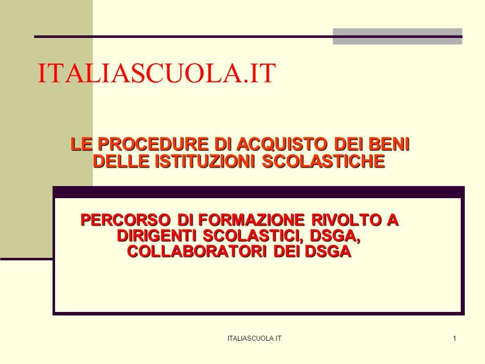 ITALIASCUOLA.IT1 LE PROCEDURE DI ACQUISTO DEI BENI DELLE ISTITUZIONI SCOLASTICHE PERCORSO DI FORMAZIONE RIVOLTO A DIRIGENTI SCOLASTICI, DSGA, COLLABOR