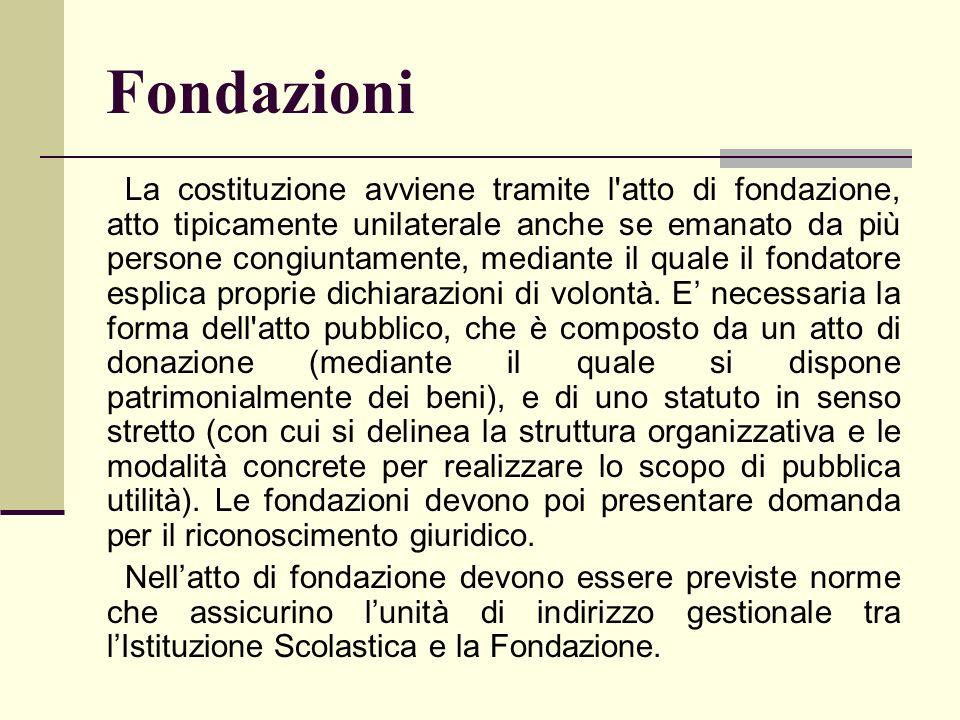 Fondazioni La costituzione avviene tramite l'atto di fondazione, atto tipicamente unilaterale anche se emanato da più persone congiuntamente, mediante