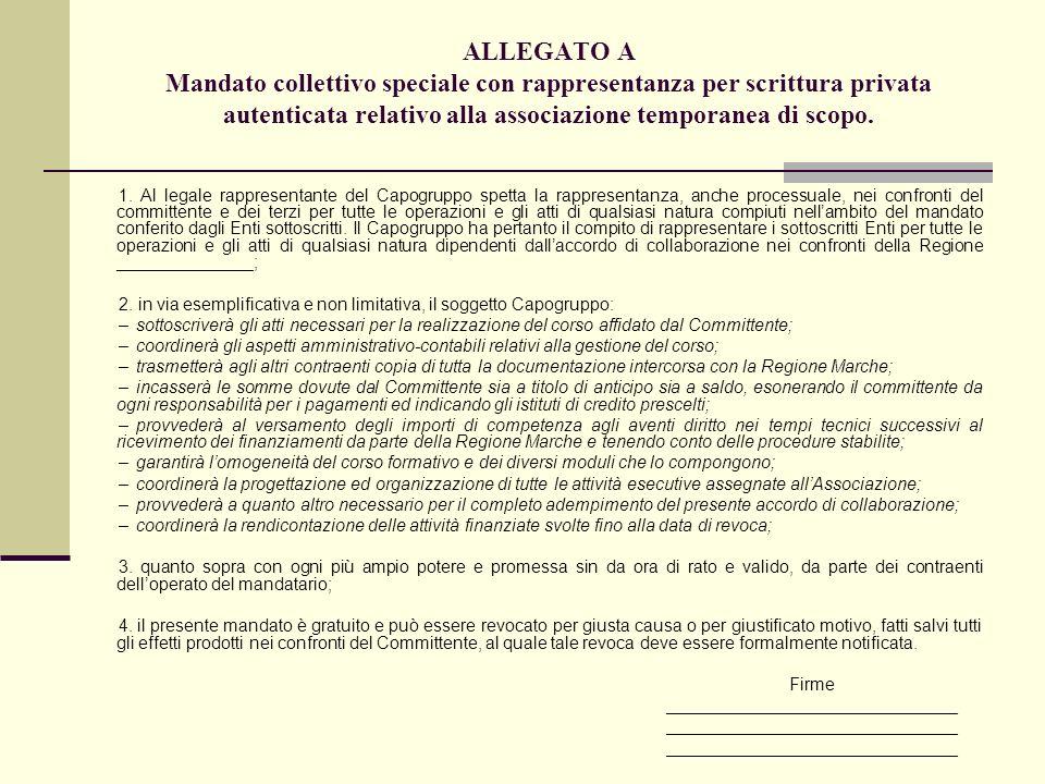 ALLEGATO A Mandato collettivo speciale con rappresentanza per scrittura privata autenticata relativo alla associazione temporanea di scopo. 1. Al lega