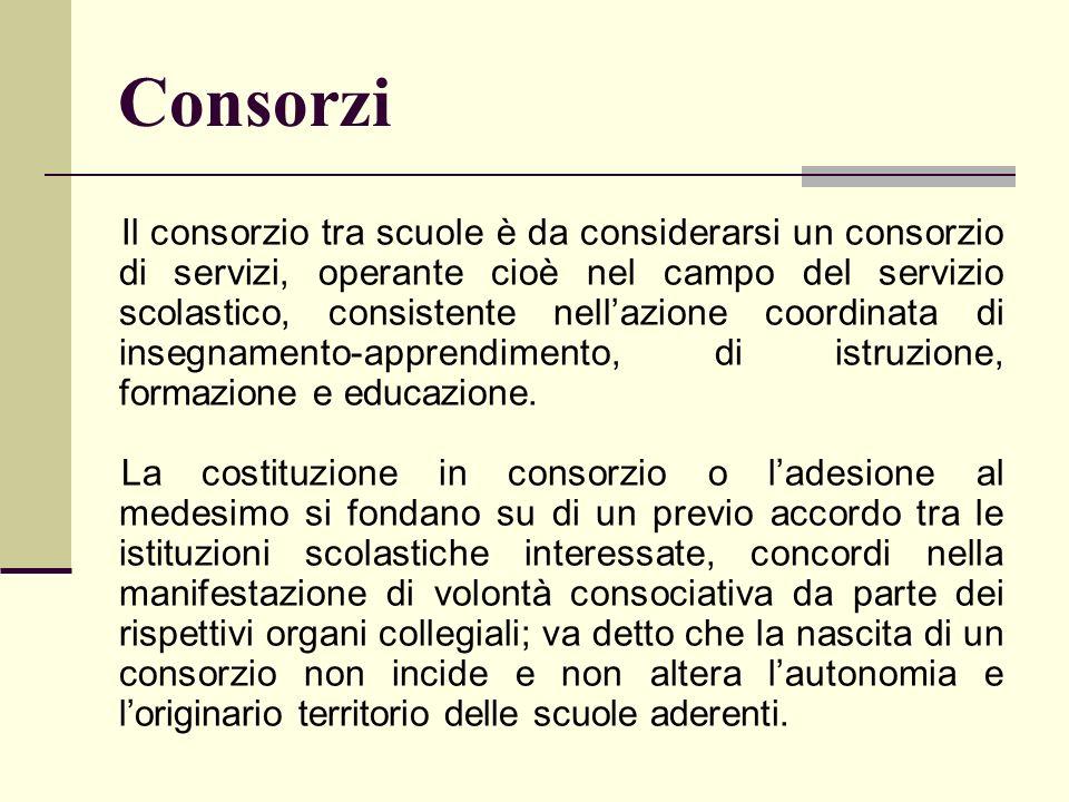 Consorzi Il consorzio tra scuole è da considerarsi un consorzio di servizi, operante cioè nel campo del servizio scolastico, consistente nellazione co