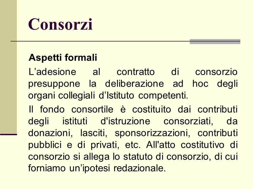 Consorzi Aspetti formali Ladesione al contratto di consorzio presuppone la deliberazione ad hoc degli organi collegiali dIstituto competenti. Il fondo