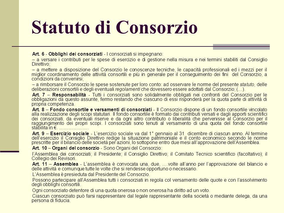 Statuto di Consorzio Art. 6 - Obblighi dei consorziati - I consorziati si impegnano: – a versare i contributi per le spese di esercizio e di gestione