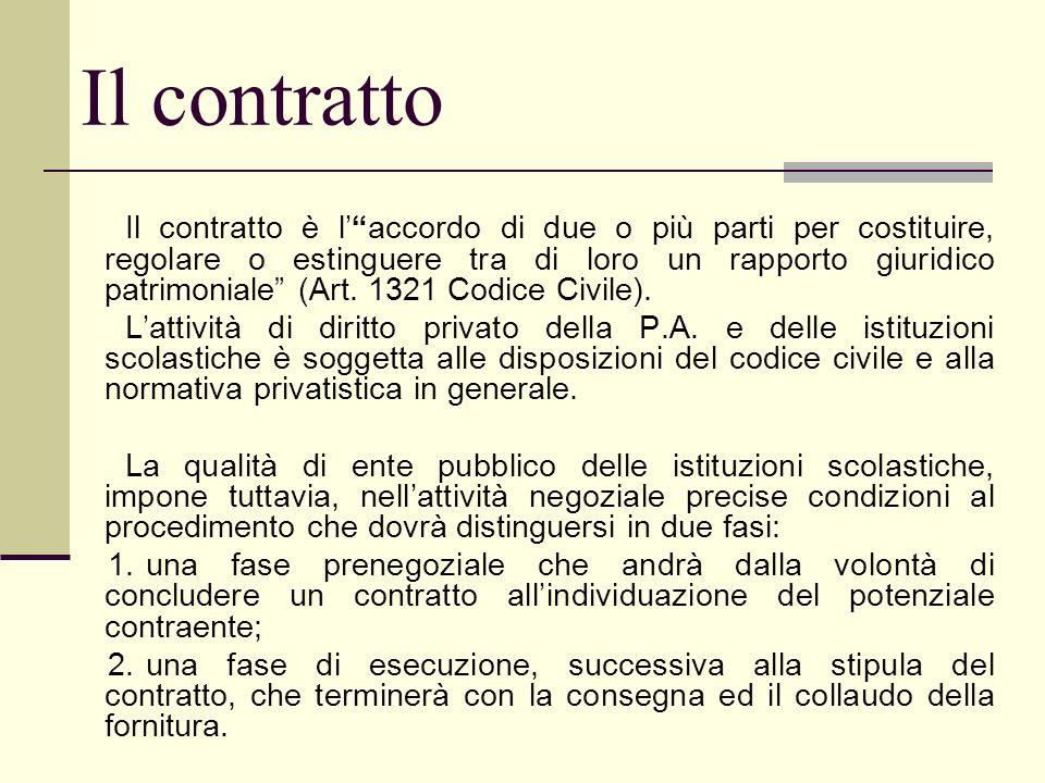 Il contratto Il contratto è laccordo di due o più parti per costituire, regolare o estinguere tra di loro un rapporto giuridico patrimoniale (Art. 132