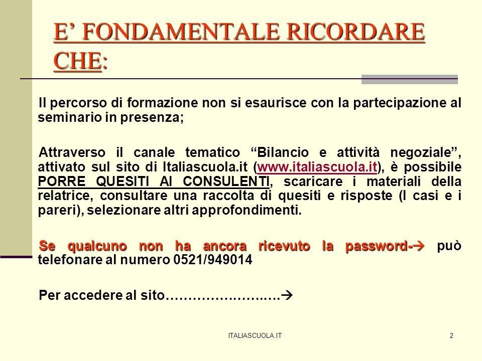 Andare sul sito di Italiascuola www.italiascuola.it e nella barra di sinistra cliccare sul canale tematico Bilancio e attività negoziale; una volta nel canale, digitare i codici di accesso nello spazio in alto a destra www.italiascuola.it