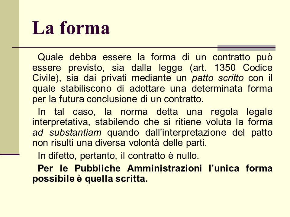 La forma Quale debba essere la forma di un contratto può essere previsto, sia dalla legge (art. 1350 Codice Civile), sia dai privati mediante un patto