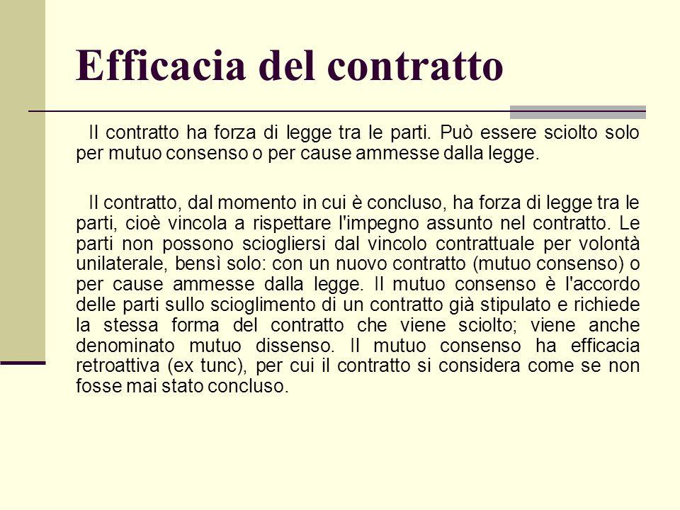 Efficacia del contratto Il contratto ha forza di legge tra le parti. Può essere sciolto solo per mutuo consenso o per cause ammesse dalla legge. Il co