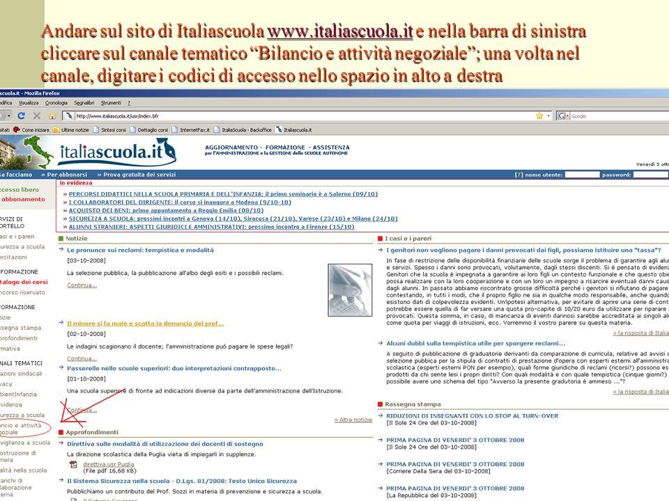 Andare sul sito di Italiascuola www.italiascuola.it e nella barra di sinistra cliccare sul canale tematico Bilancio e attività negoziale; una volta ne