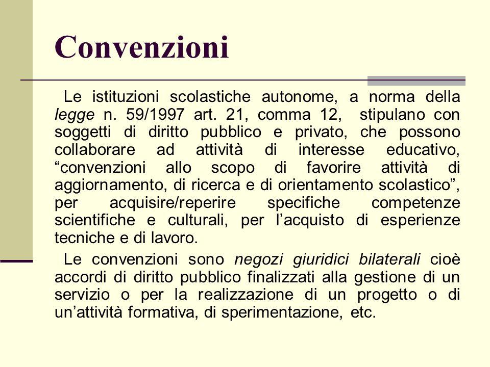 Convenzioni Le istituzioni scolastiche autonome, a norma della legge n. 59/1997 art. 21, comma 12, stipulano con soggetti di diritto pubblico e privat