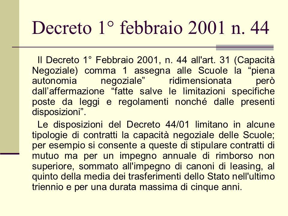 Decreto 1° febbraio 2001 n. 44 Il Decreto 1° Febbraio 2001, n. 44 all'art. 31 (Capacità Negoziale) comma 1 assegna alle Scuole la piena autonomia nego