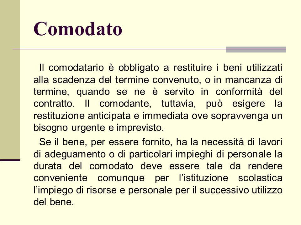 Comodato Il comodatario è obbligato a restituire i beni utilizzati alla scadenza del termine convenuto, o in mancanza di termine, quando se ne è servi