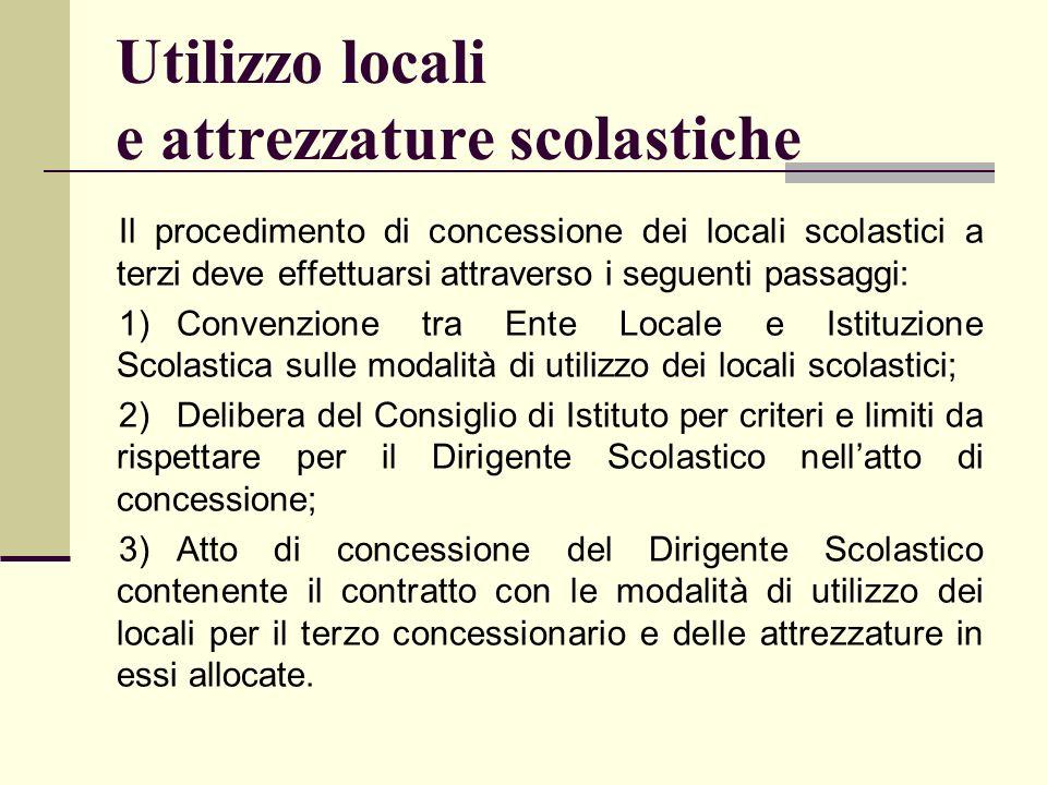 Utilizzo locali e attrezzature scolastiche Il procedimento di concessione dei locali scolastici a terzi deve effettuarsi attraverso i seguenti passagg