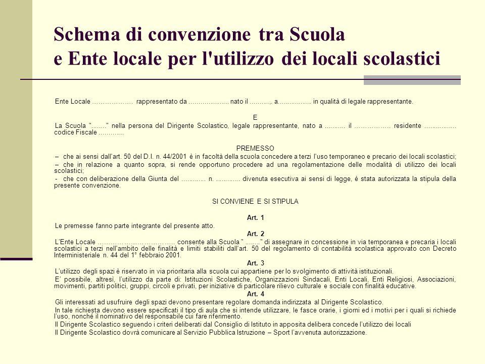 Schema di convenzione tra Scuola e Ente locale per l'utilizzo dei locali scolastici Ente Locale ………………. rappresentato da..................... nato il.