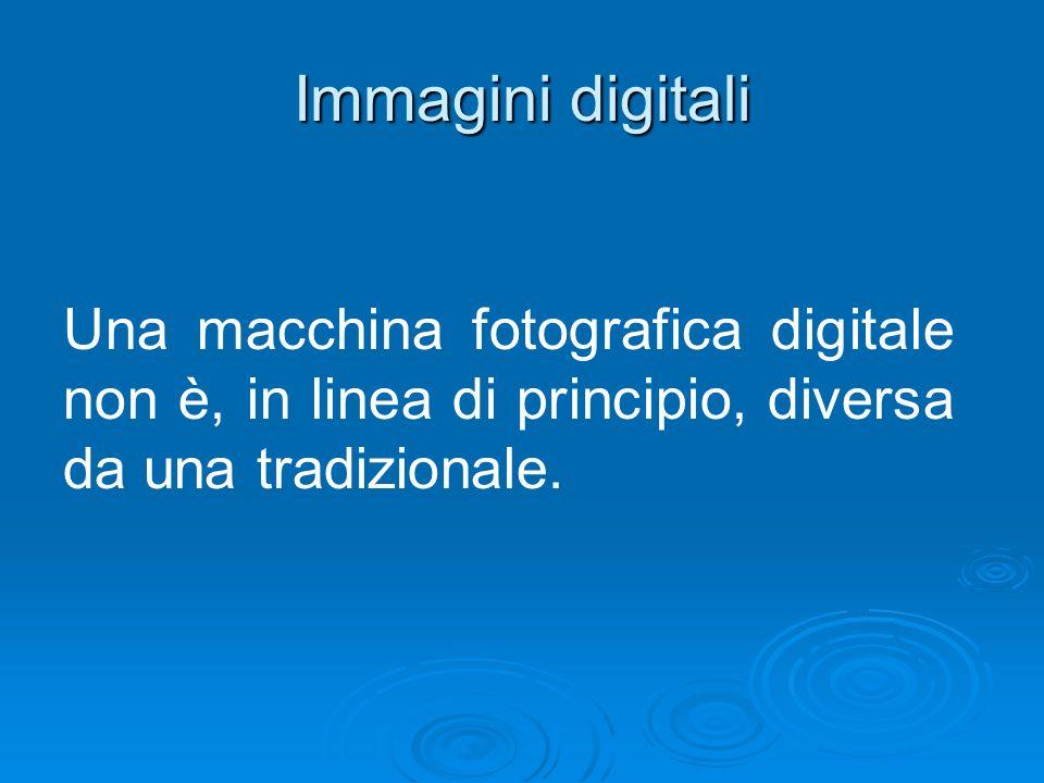 Immagini digitali Una macchina fotografica digitale non è, in linea di principio, diversa da una tradizionale.
