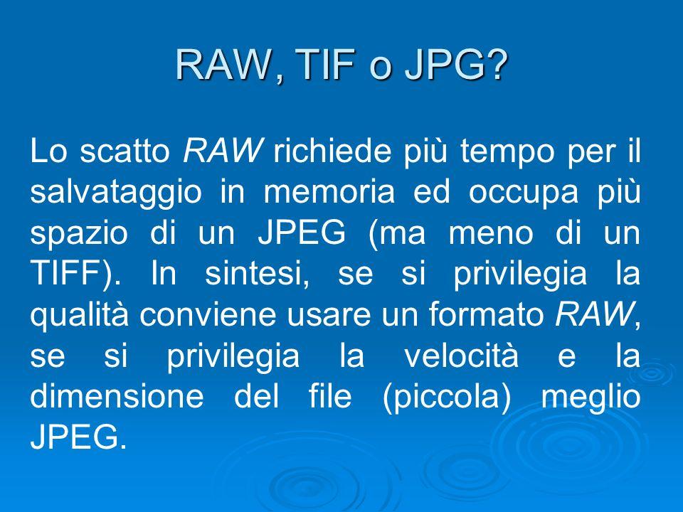 RAW, TIF o JPG? Lo scatto RAW richiede più tempo per il salvataggio in memoria ed occupa più spazio di un JPEG (ma meno di un TIFF). In sintesi, se si