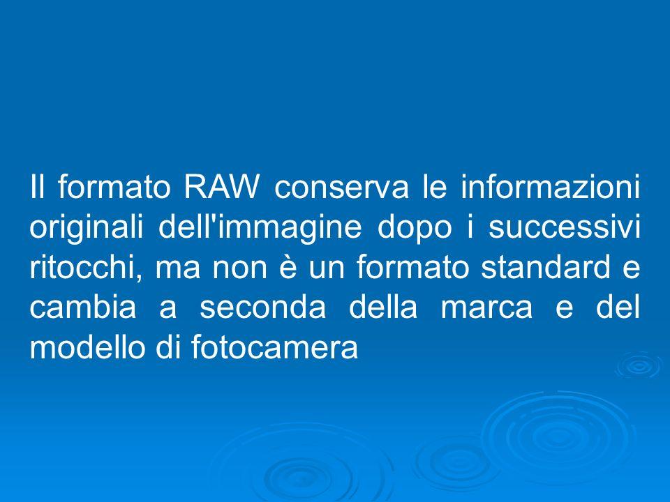 Il formato RAW conserva le informazioni originali dell'immagine dopo i successivi ritocchi, ma non è un formato standard e cambia a seconda della marc