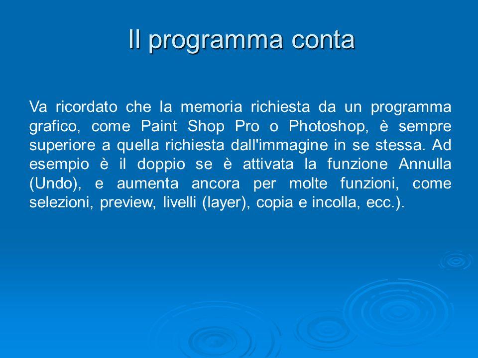 Il programma conta Va ricordato che la memoria richiesta da un programma grafico, come Paint Shop Pro o Photoshop, è sempre superiore a quella richies