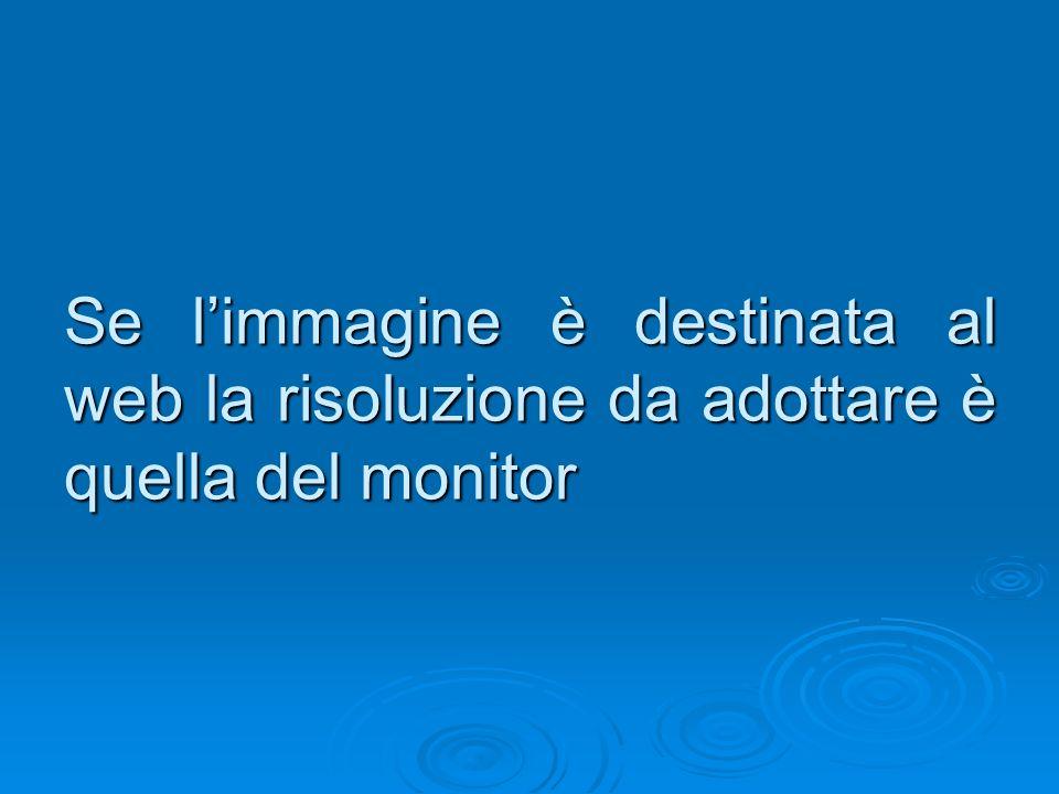 Se limmagine è destinata al web la risoluzione da adottare è quella del monitor