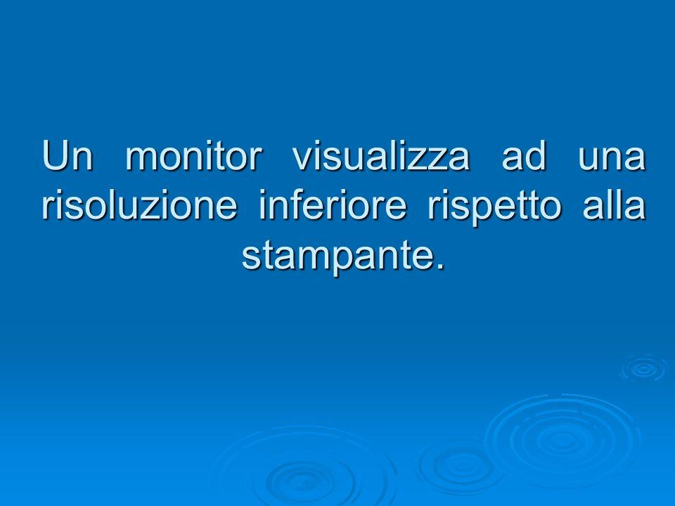 Un monitor visualizza ad una risoluzione inferiore rispetto alla stampante.