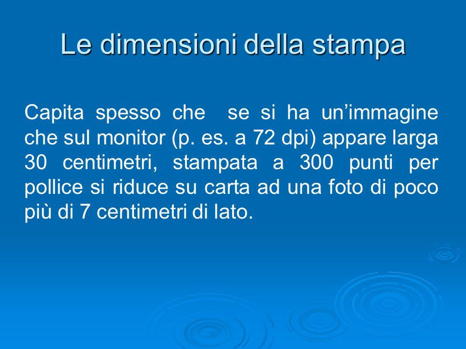 Le dimensioni della stampa Capita spesso che se si ha unimmagine che sul monitor (p. es. a 72 dpi) appare larga 30 centimetri, stampata a 300 punti pe