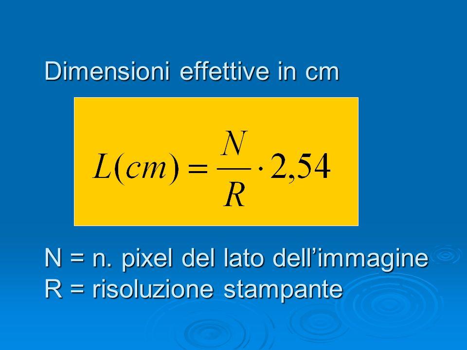 Dimensioni effettive in cm N = n. pixel del lato dellimmagine R = risoluzione stampante