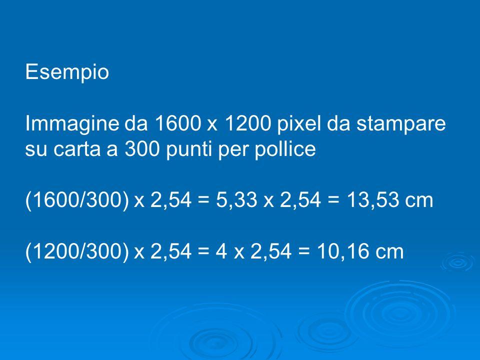 Esempio Immagine da 1600 x 1200 pixel da stampare su carta a 300 punti per pollice (1600/300) x 2,54 = 5,33 x 2,54 = 13,53 cm (1200/300) x 2,54 = 4 x