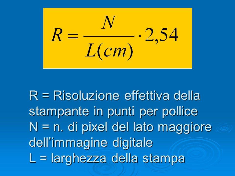 R = Risoluzione effettiva della stampante in punti per pollice N = n. di pixel del lato maggiore dellimmagine digitale L = larghezza della stampa