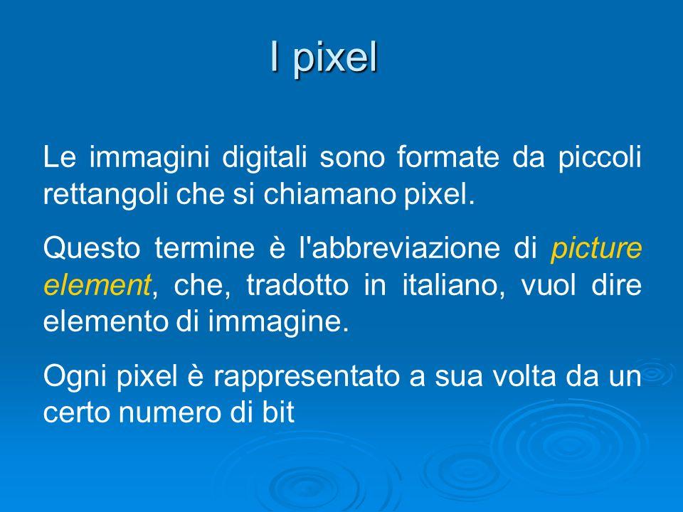I pixel Le immagini digitali sono formate da piccoli rettangoli che si chiamano pixel. Questo termine è l'abbreviazione di picture element, che, trado