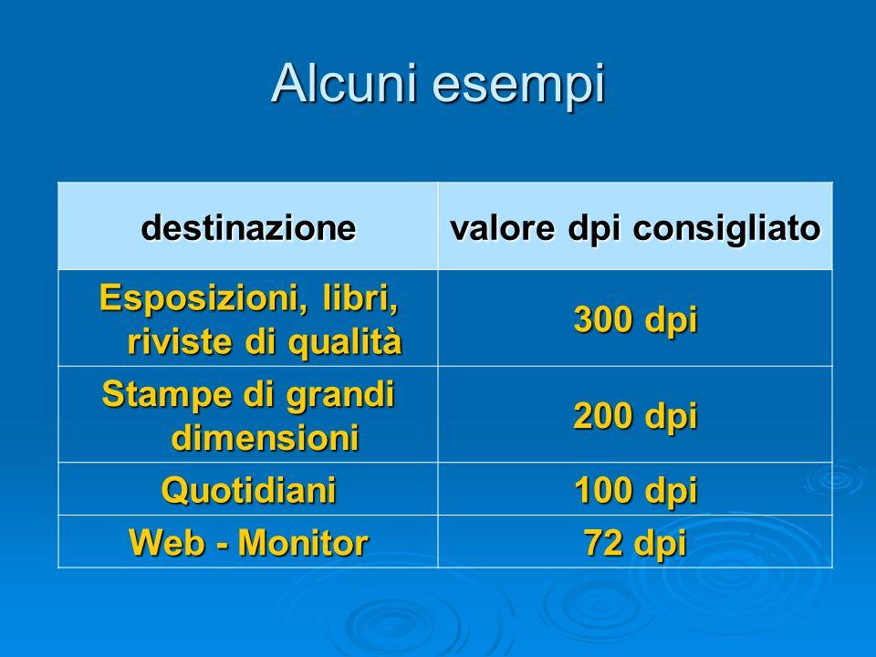 Alcuni esempi destinazione valore dpi consigliato Esposizioni, libri, riviste di qualità 300 dpi Stampe di grandi dimensioni 200 dpi Quotidiani 100 dp