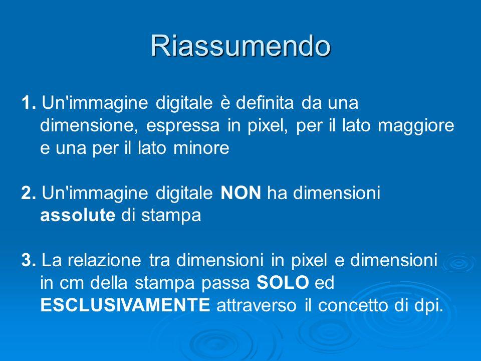 Riassumendo 1. Un'immagine digitale è definita da una dimensione, espressa in pixel, per il lato maggiore e una per il lato minore 2. Un'immagine digi