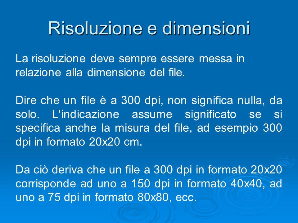 Risoluzione e dimensioni La risoluzione deve sempre essere messa in relazione alla dimensione del file. Dire che un file è a 300 dpi, non significa nu