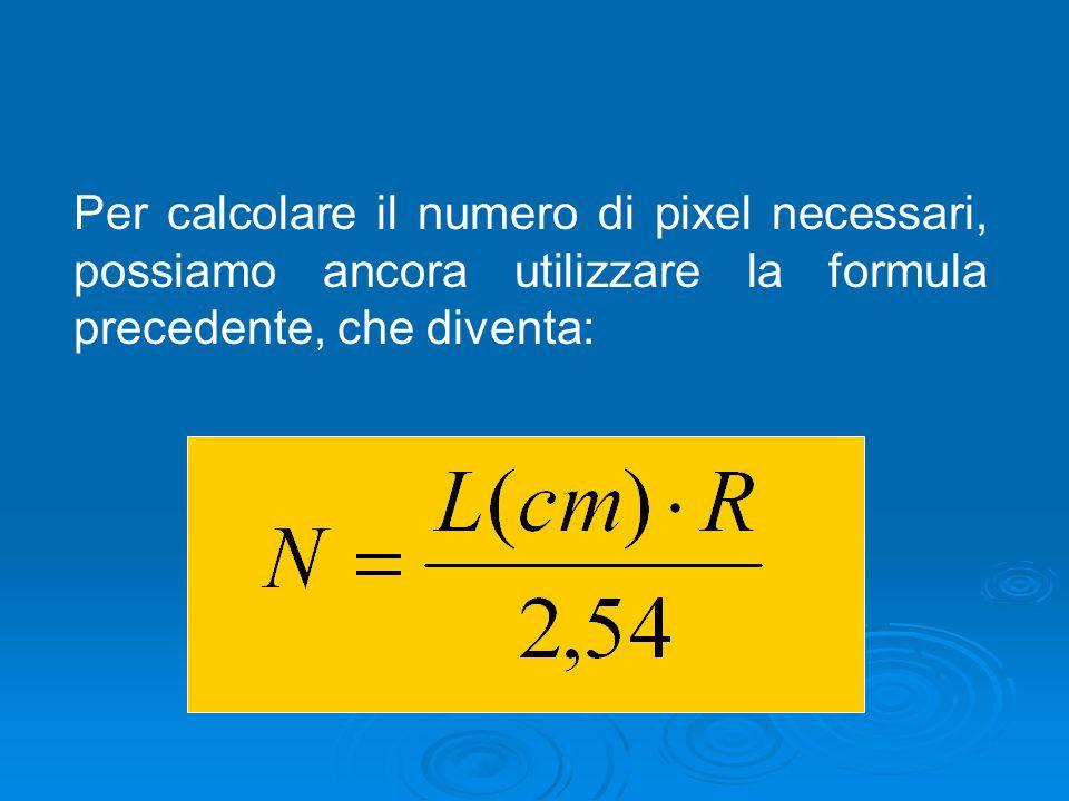 Per calcolare il numero di pixel necessari, possiamo ancora utilizzare la formula precedente, che diventa:
