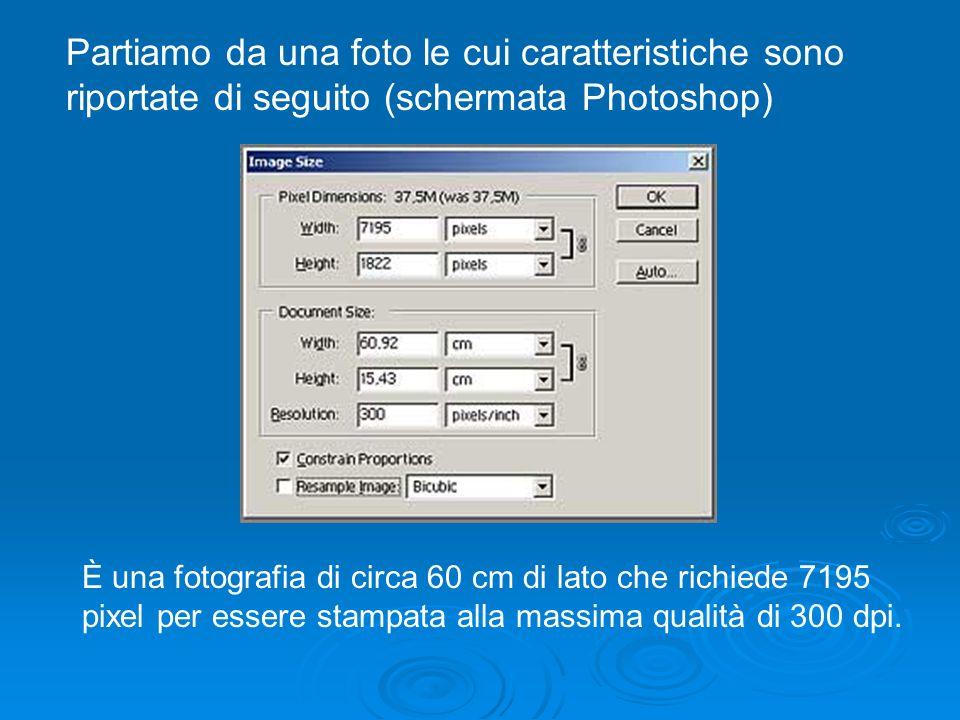 Partiamo da una foto le cui caratteristiche sono riportate di seguito (schermata Photoshop) È una fotografia di circa 60 cm di lato che richiede 7195