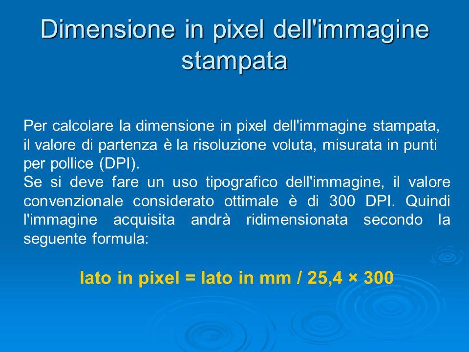 Dimensione in pixel dell'immagine stampata Per calcolare la dimensione in pixel dell'immagine stampata, il valore di partenza è la risoluzione voluta,