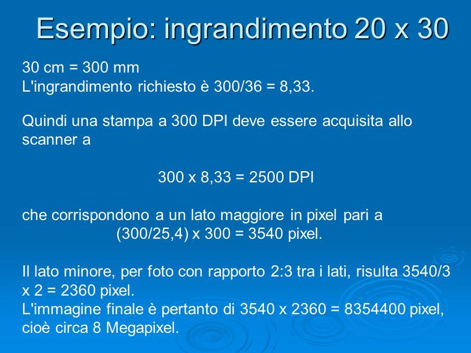 Esempio: ingrandimento 20 x 30 30 cm = 300 mm L'ingrandimento richiesto è 300/36 = 8,33. Quindi una stampa a 300 DPI deve essere acquisita allo scanne