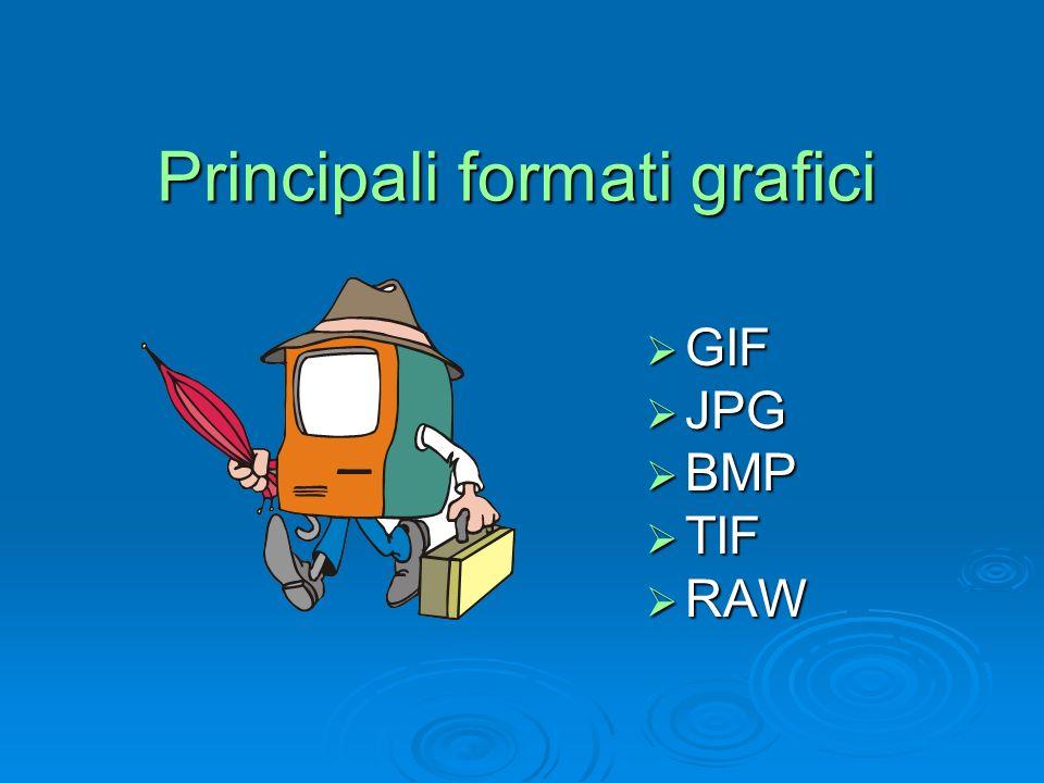 Principali formati grafici GIF GIF JPG JPG BMP BMP TIF TIF RAW RAW