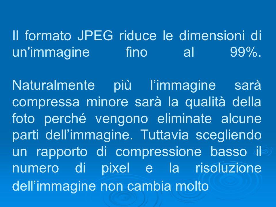 Il formato JPEG riduce le dimensioni di un'immagine fino al 99%. Naturalmente più limmagine sarà compressa minore sarà la qualità della foto perché ve