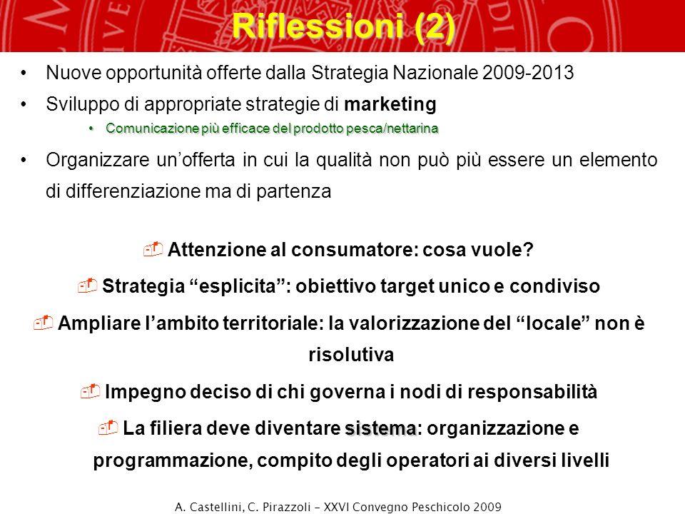 Riflessioni (2) Nuove opportunità offerte dalla Strategia Nazionale 2009-2013 Sviluppo di appropriate strategie di marketing Comunicazione più efficac