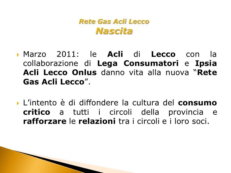 Marzo 2011: le Acli di Lecco con la collaborazione di Lega Consumatori e Ipsia Acli Lecco Onlus danno vita alla nuova Rete Gas Acli Lecco.