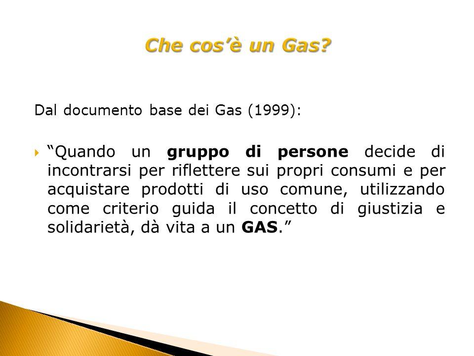 Dal documento base dei Gas (1999): Quando un gruppo di persone decide di incontrarsi per riflettere sui propri consumi e per acquistare prodotti di uso comune, utilizzando come criterio guida il concetto di giustizia e solidarietà, dà vita a un GAS.