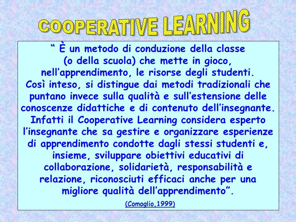 È un metodo di conduzione della classe (o della scuola) che mette in gioco, nellapprendimento, le risorse degli studenti. Così inteso, si distingue da