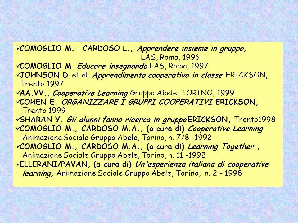 COMOGLIO M.- CARDOSO L., Apprendere insieme in gruppo, LAS, Roma, 1996 COMOGLIO M. Educare insegnando LAS, Roma, 1997 JOHNSON D. et al. Apprendimento