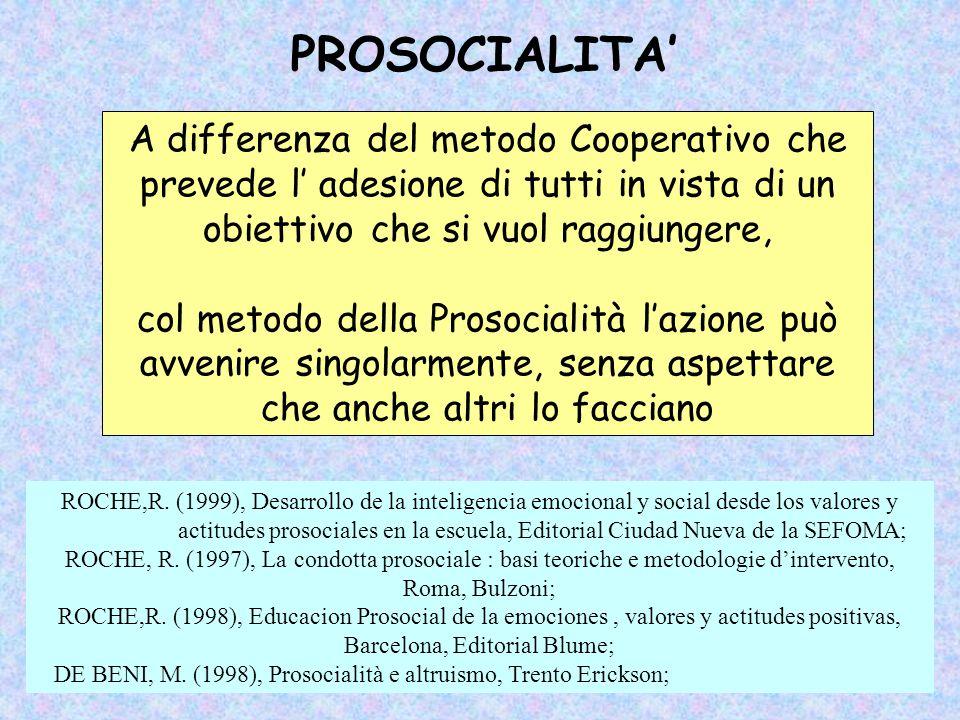 PROSOCIALITA A differenza del metodo Cooperativo che prevede l adesione di tutti in vista di un obiettivo che si vuol raggiungere, col metodo della Pr
