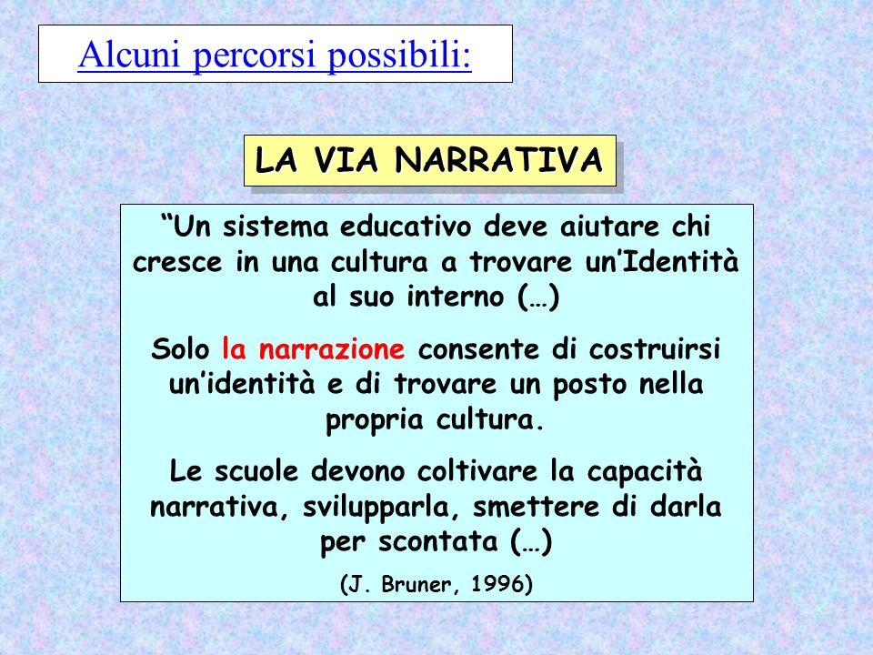 Un sistema educativo deve aiutare chi cresce in una cultura a trovare unIdentità al suo interno (…) Solo la narrazione consente di costruirsi unidenti