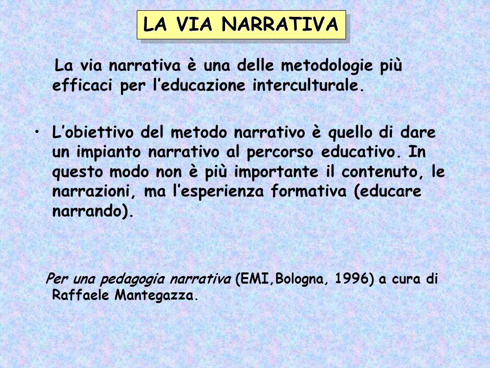 La via narrativa è una delle metodologie più efficaci per leducazione interculturale. Lobiettivo del metodo narrativo è quello di dare un impianto nar