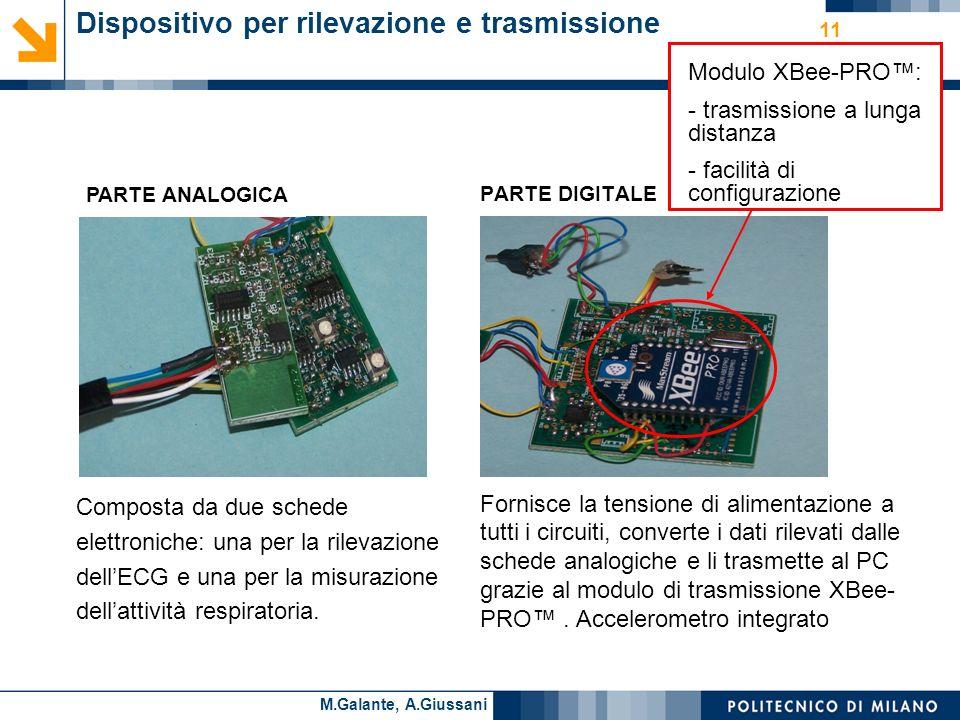 Cesare AlippiM.Galante, A.Giussani 11 Dispositivo per rilevazione e trasmissione PARTE ANALOGICA Composta da due schede elettroniche: una per la rilevazione dellECG e una per la misurazione dellattività respiratoria.