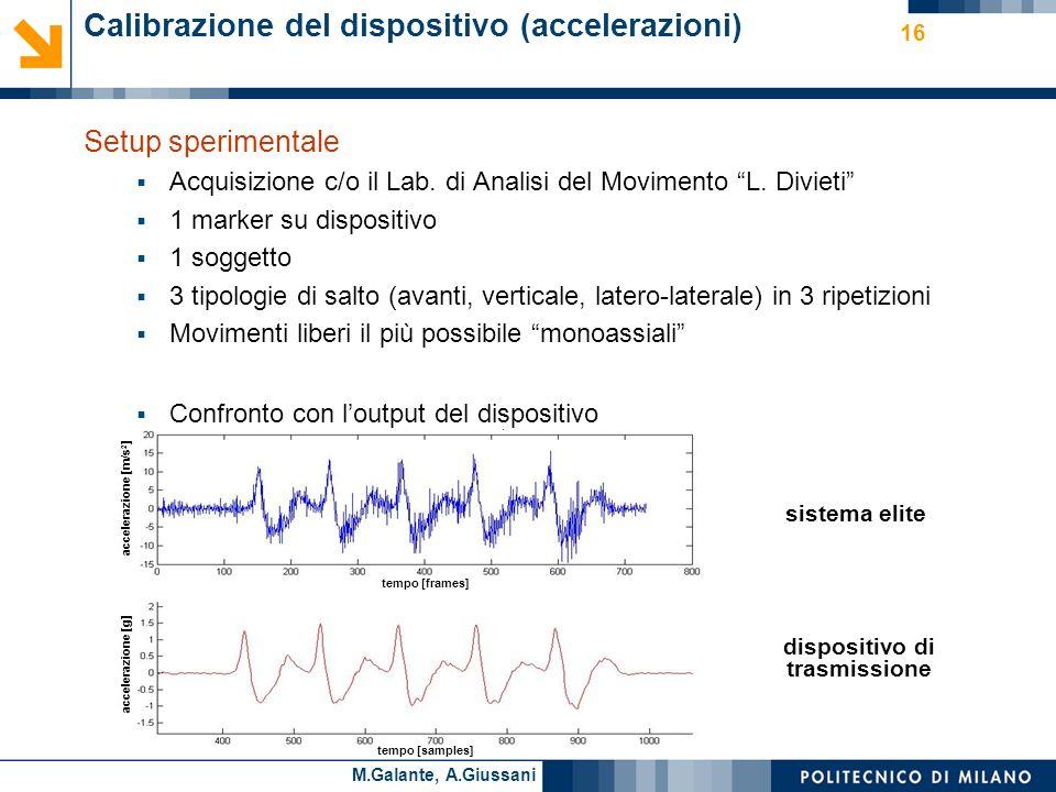 Cesare AlippiM.Galante, A.Giussani Calibrazione del dispositivo (accelerazioni) Setup sperimentale Acquisizione c/o il Lab.
